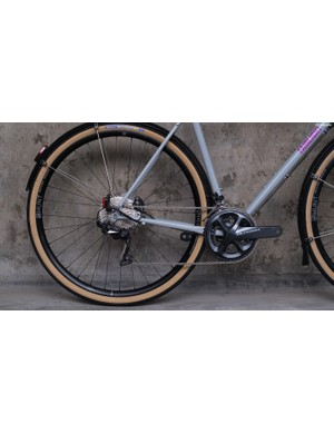 Small dimples provide clearances for tyres and chainrings