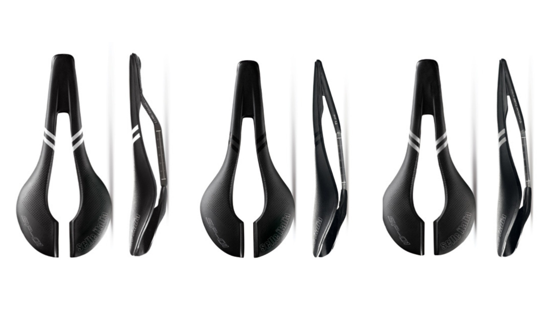 The three new SP-01 saddles from left to right: Kit Carbonio Superflow, Superflow and Titanium Superflow