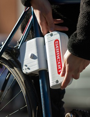 The Semcon bike engine attaches to the seat tube, and drives the rear wheel