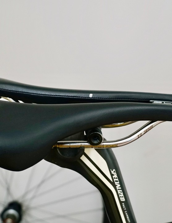 Mark the center of the saddle so you can consistently determine your effective seat height