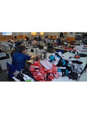 There are over 40 sewing stations in this factory and the same again at Verge's other facility. In total, Verge employs 120 people in Poland
