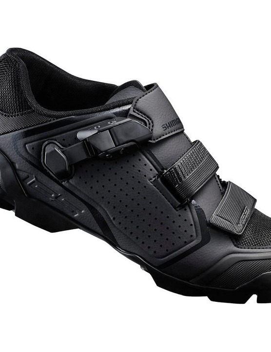 Mountain bikers get the ME5 trail shoe, available in black or grey