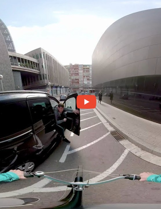 The videos take the virtual cyclists through a range of close-calls such as car doors being opened