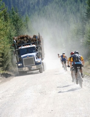Sharing the roads - local forestry workers were super-considerate of TransRockies racers.
