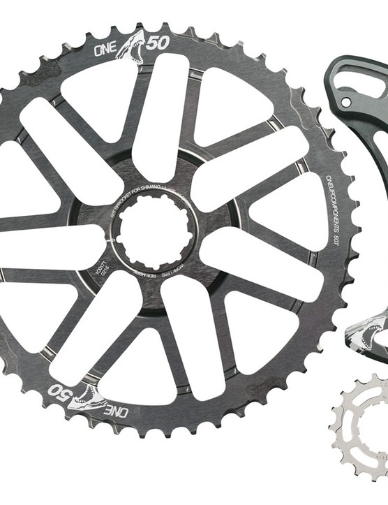 This is the Shark 50t upgrade kit, it includes the 50t cog, a hardened steel 18t cog and the alloy derailleur cage