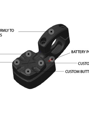 The flat bar shifter also features four configurable buttons along with a battery indicator light