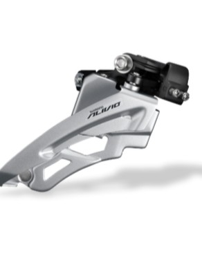 The Alivio front derailleur gets side swing technology for smoother shifts and more rear tire clearance