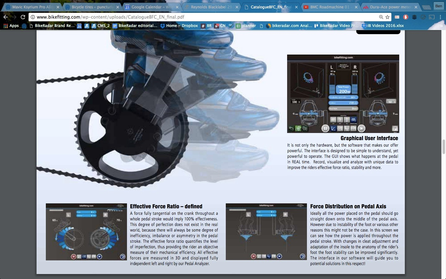 Shimano's Bikefitting.com studio hardware and software measure pedaling dynamics in a host of ways, looking at directional force every 7 degrees, plus how centered force is over each pedal