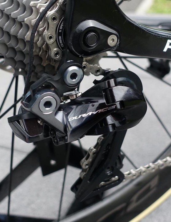 The new Shadow derailleur hugs tightly to the cassette
