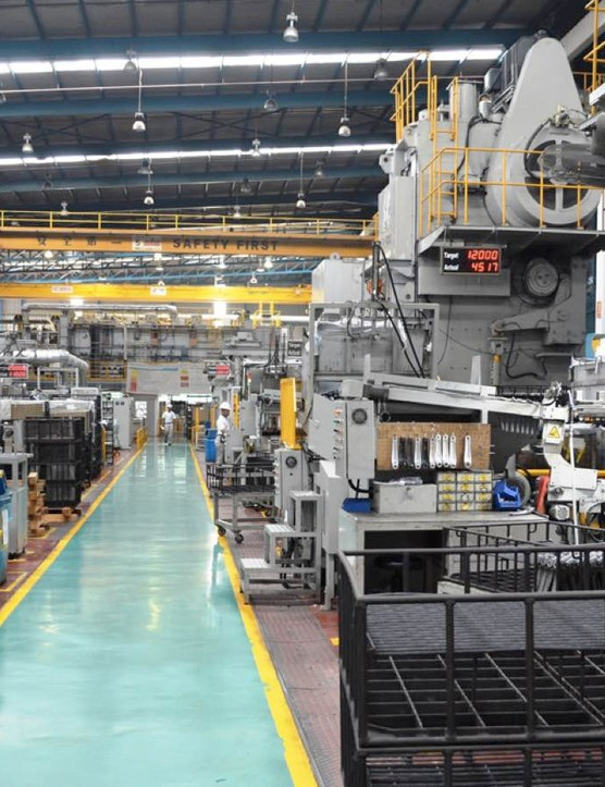 Shimano Malaysia's factory floor is filled with forging presses and heat treating ovens