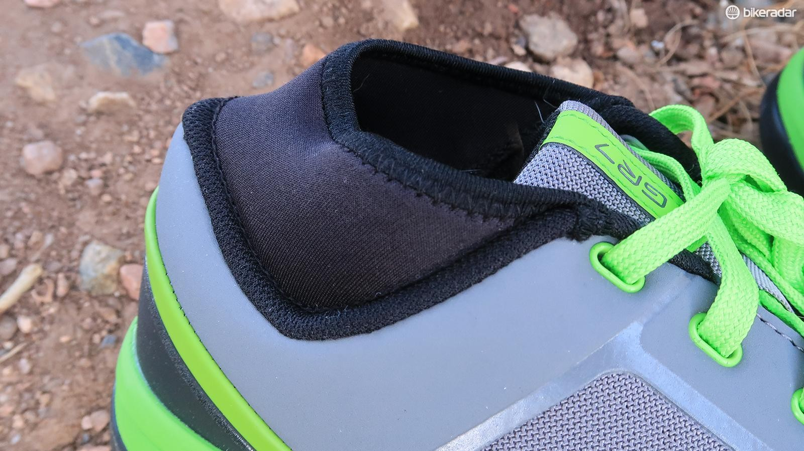 A cuff around the ankle keeps rocks from working their way in