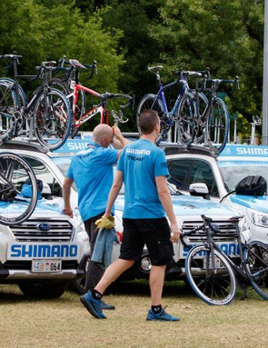 Each morning, the bicycles and wheels are checked, the cars and bike are then loaded