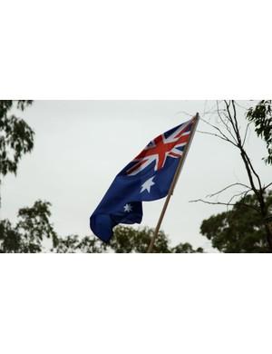 Plenty of Australian flags were waving in the hot winds