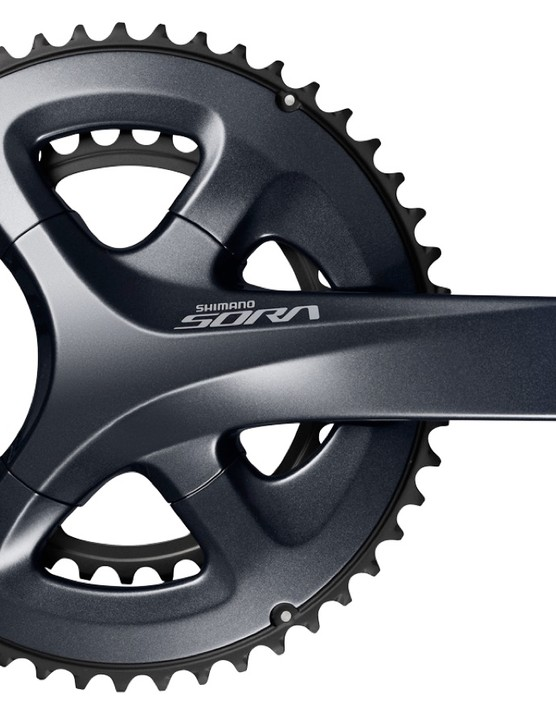 Shimano's new Sora crankset has a four-arm design and two-tone finish that looks very similar to the upper-tier groupsets like 105 and Ultegra