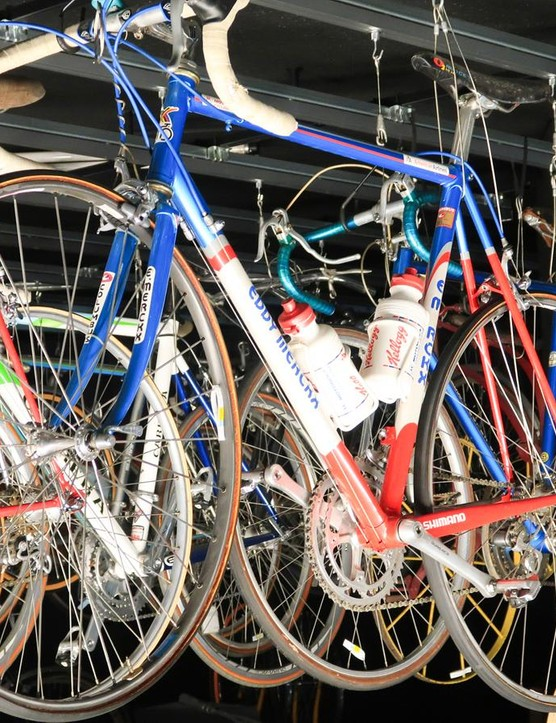 The Eddie Merckx that Lance Armstrong rode to his 1993 world championship victory hangs in the rafters