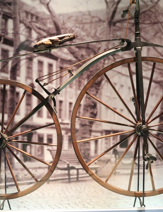 In 1861 Pierre Michaux invented a bicycle with cranks mounted to the front wheel