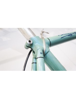 The engraved B on this Bianchi frameset is rumoured to signify that it was famed Italian frame builders Bilato who handled the construction on behalf odf Bianchi