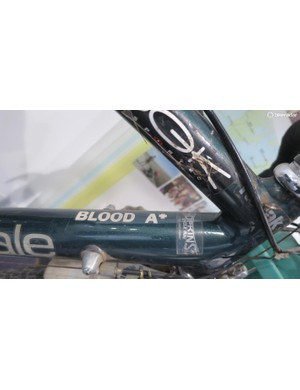 …and if you're going to ride unsupported for four years you'd probably want your blood type written on your bike too