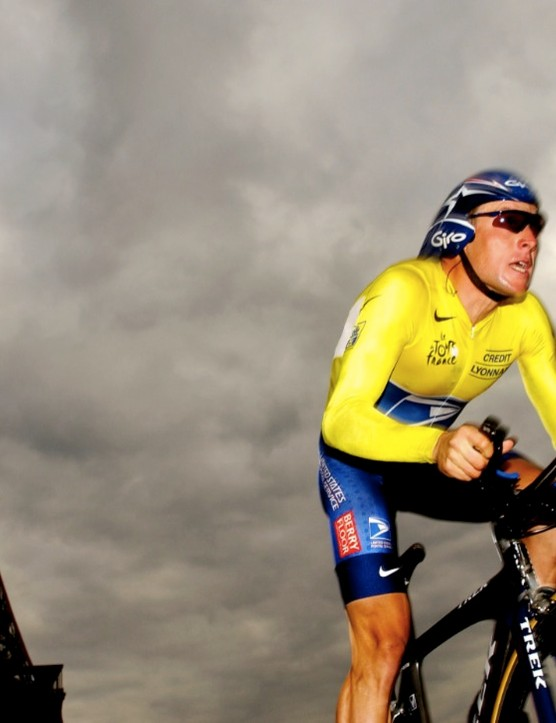 Lance Armstrong, racing the 2003 Tour prologue in Paris.