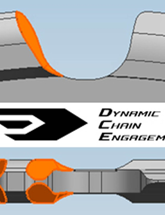 The Shimano Dynamic Chain Engagement system appears to use a narrow-wide tooth profile