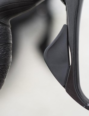 The revised shifter paddle shape makes it easier to shift from the drops