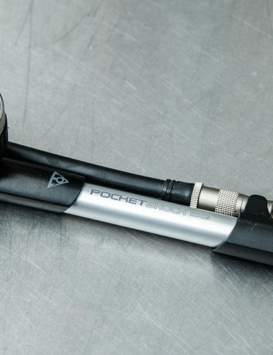 With a mix of plastic and metal construction, the Topeak DXG PocketShock shock pump is a sensible choice at a good price