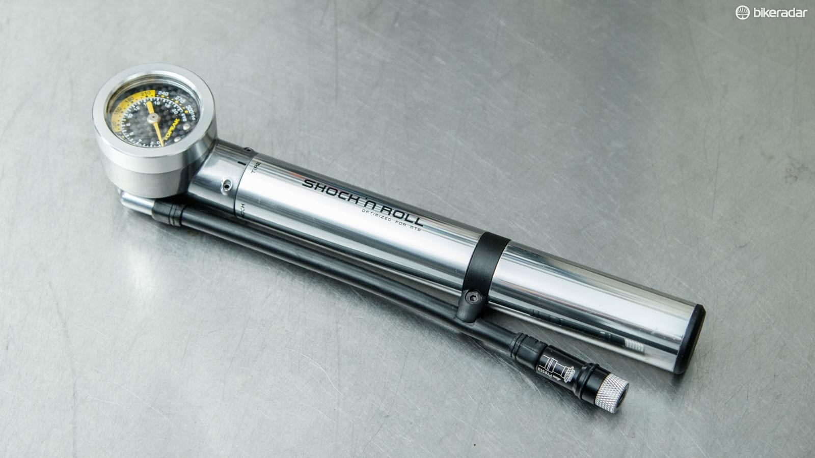 The Topeak Shock 'n Roll pump has remained unchanged for many years and continues to be a rare breed in that it combines shock and tyre pumping