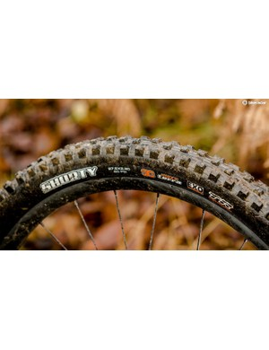 A good mud tyre such as this Maxxis Shorty needs prominent side-treads to dig down to grip