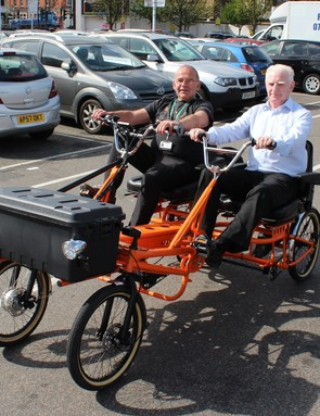 David Dansky of Cycle Training UK out for a spin with Hackney resident George Capon