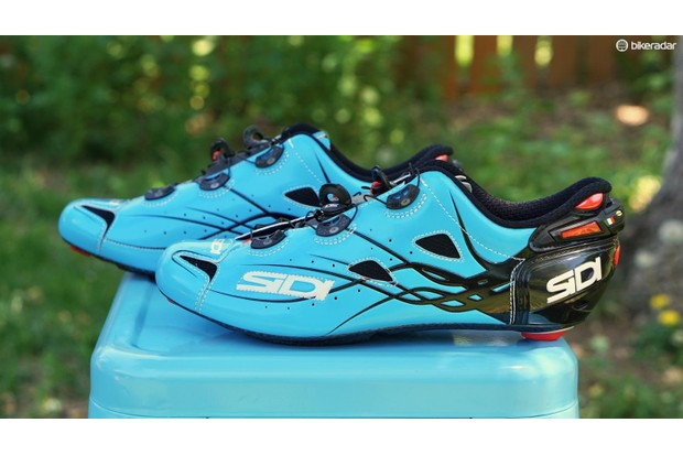 The Sidi Shot shoes feature a unique adjustable heel closure for the perfect fit