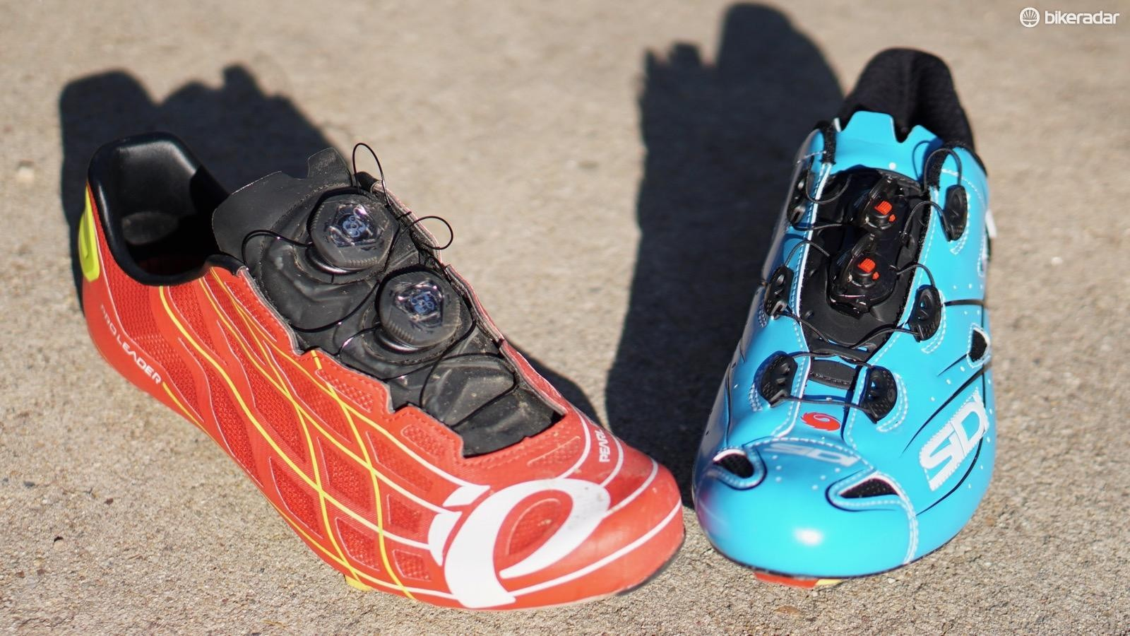 Sidi's Shot and Pearl's PRO Leader III have similar closure designs, but differ wildly in fit and feel