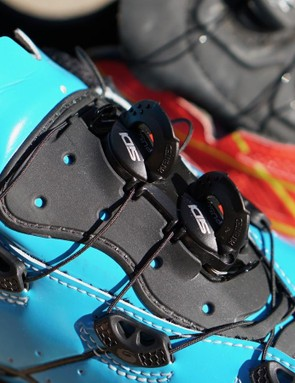 Sidi's in-house dials tighten the laces, and you have to press and hole a lever to release