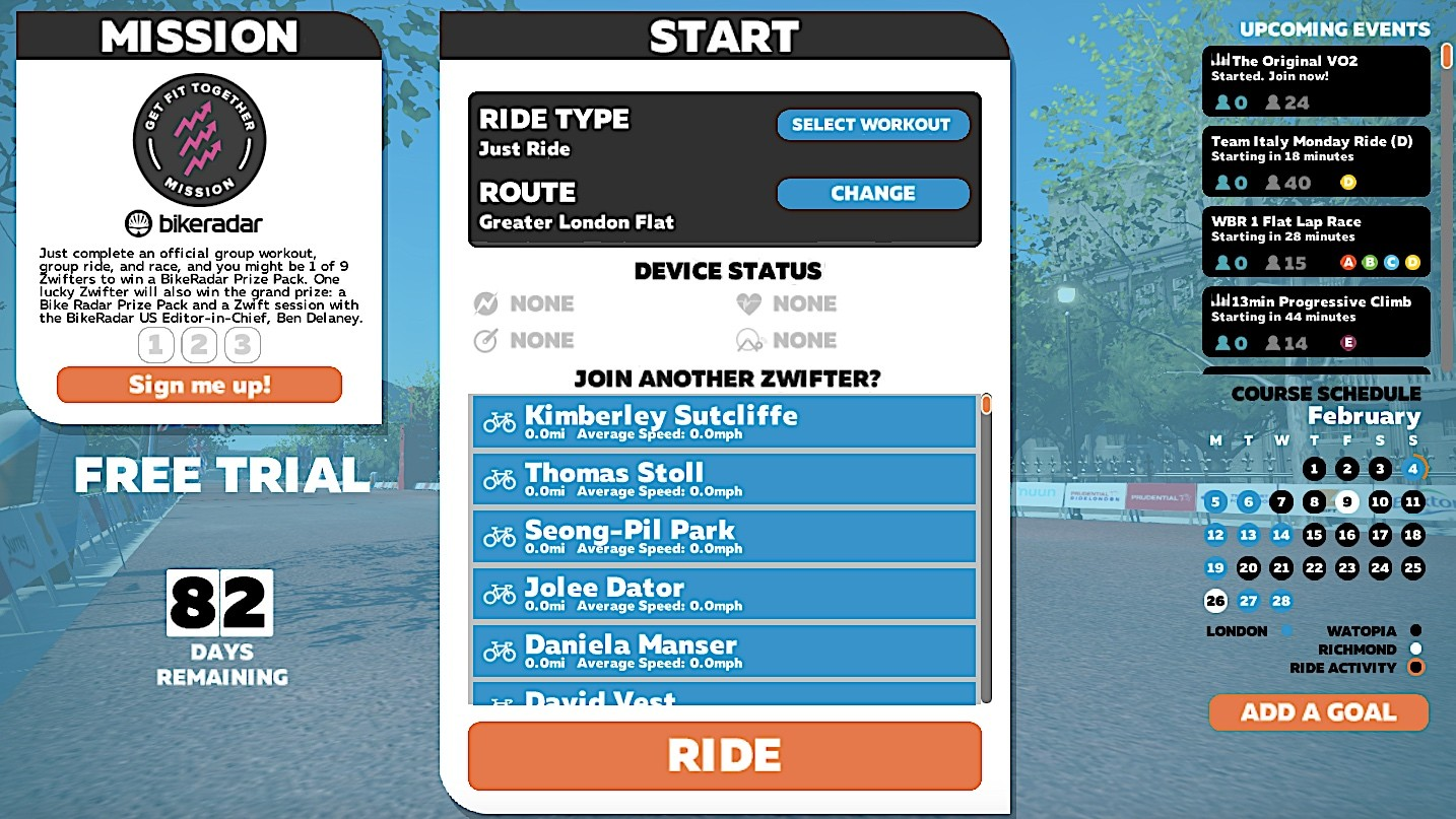 To join the BikeRadar Mission, click 'Sign me up!' on the left of the opening screen — then join events on the right or through the Mobile Link app