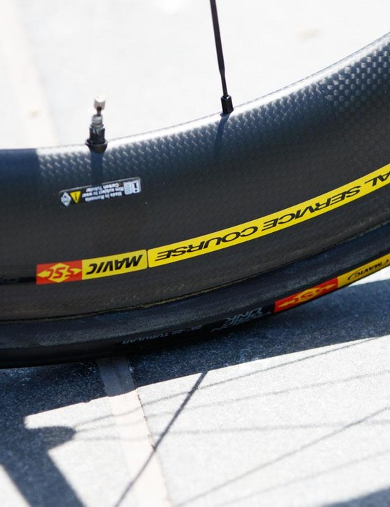 Cannondale team members ride on Mavic wheels. Simon Clarke's bike featured special 60mm deep 'Special Service Course' hoops
