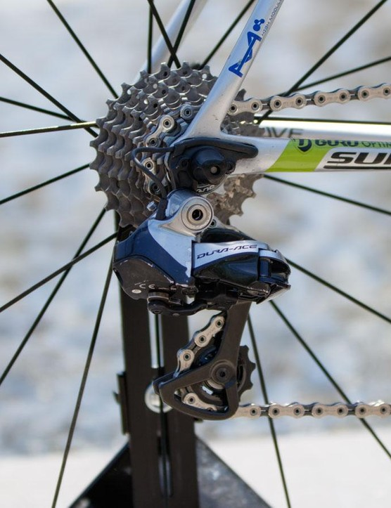 A few scratches on the Shimano Dura-Ace Di2 rear derailleur show its age