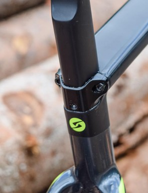 The Pride's tidy seat clamp can be swapped out to fit a conventional round seatpost