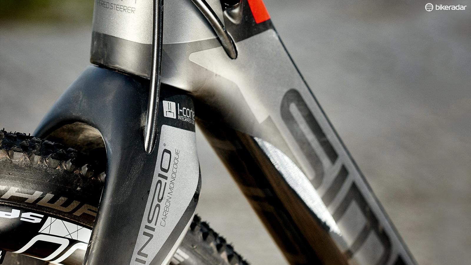 Carbon frame and fork create a lightweight ride that is tough enough for cyclocross duties