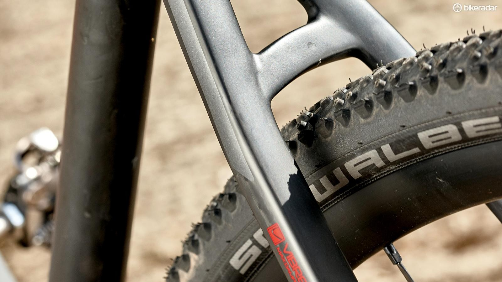 Knobbly Schwalbe X-Ones are great over loose surfaces