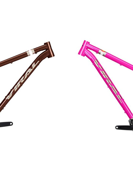 This Ti hardtail is available in pink or brown. Pre-order through April 31 will also include an Industry 9 Backcountry 27.5+ wheelset or 29in Industry 9 Trail wheelset with the frame package