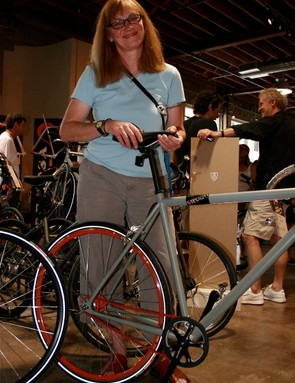 Yaeger, giddy as a school girl about Swobo bikes in Mellow Johnny's.
