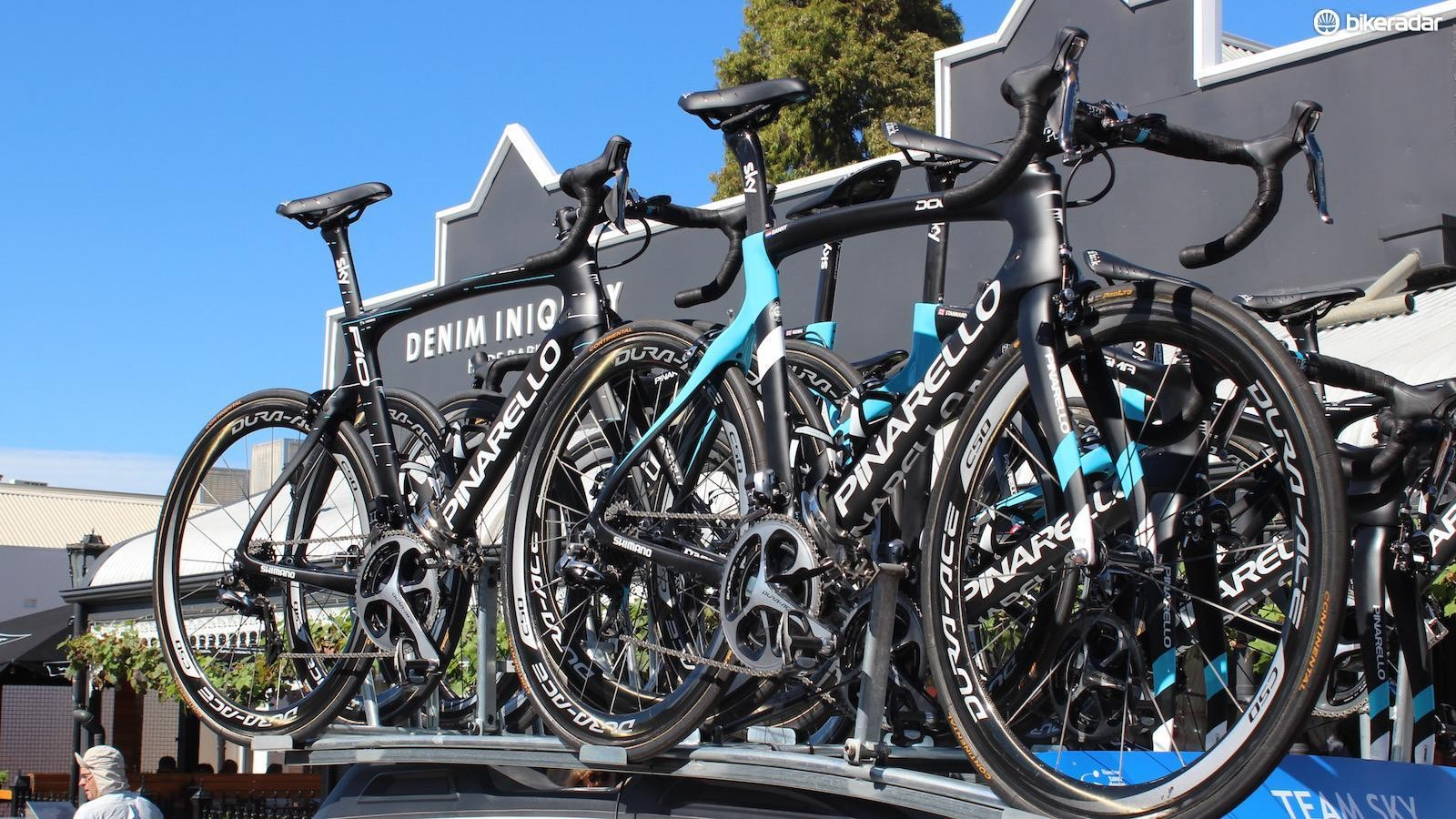 Some of Team Sky's spare race bikes are last year's Pinarello Dogma F8s