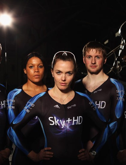 Jamie Staff (far left), Shanaze Reade (left), Victoria Pendleton (centre), Jason Kenny (right) and Ross Edgar (far right) at the launch of the Sky+HD Trade Team at the Manchester Velodrome, ahead of the UCI Cycling World Cup