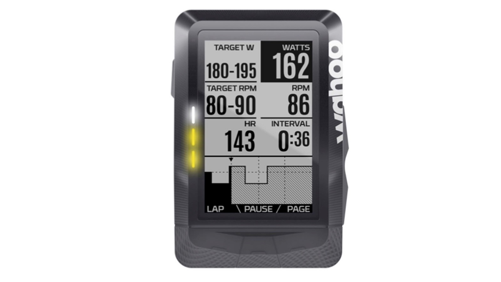 The Elemnt's LEDs indicate whether you are above, at or under target power, or another metric you have set