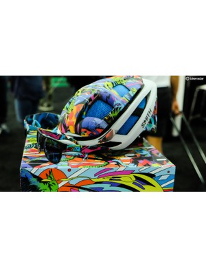 Smith was showing off this colorful custom eyewear and helmet combo the company developed with Bicicleta Sem Freio, a Brazillian street art collective