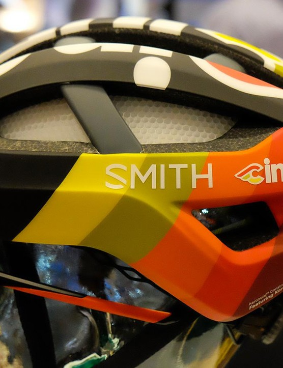 Smith was showing off its new Network road helmet in a limited-edition Cinelli paint scheme