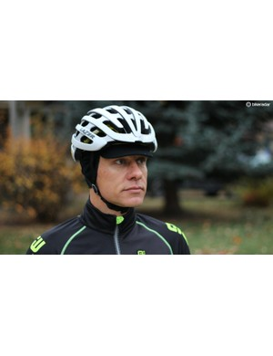The thin merino fits easily under a helmet