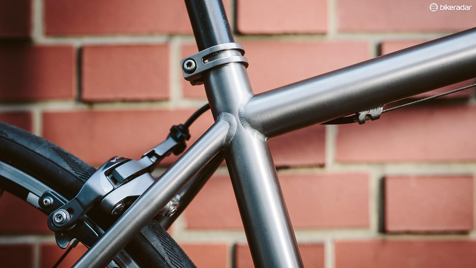 The frame is double-butted titanium