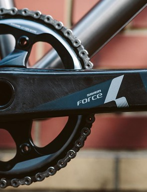 The drivetrain of our test bike featured a mix of SRAM's Force and X1 groups