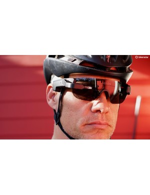 The Solos Smart Glasses act as a cycling computer with a tiny screen in front of your right eye, and speakers in front of your ears