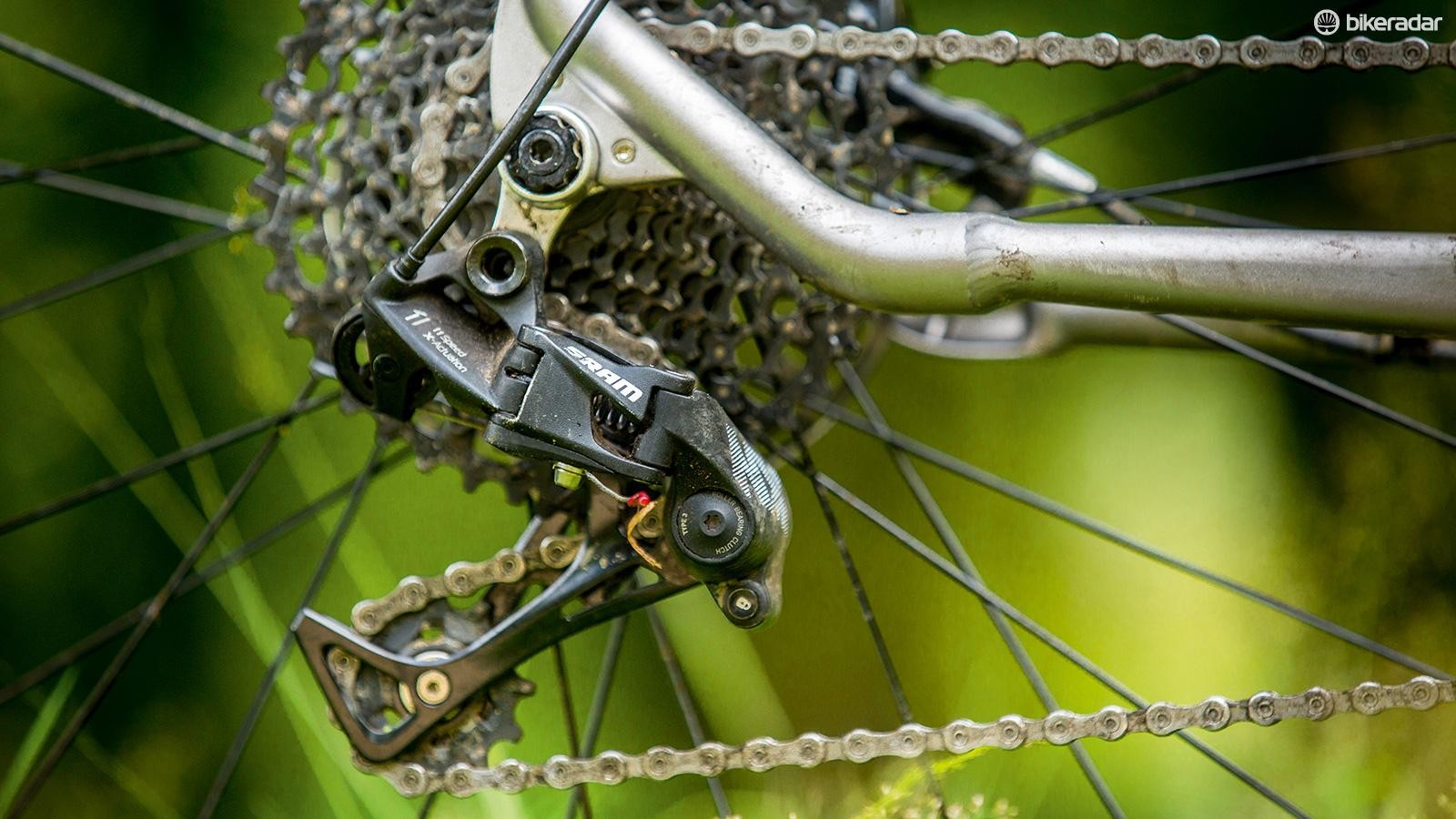 The SRAM NX drivetrain is a kit highlight, offering simple, reliable 1x11 shifting